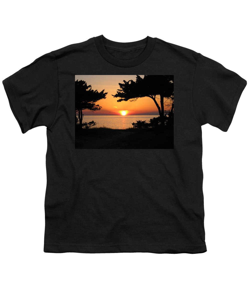 Ocracoke Youth T-Shirt featuring the photograph Ocracoke Island Winter Sunset by Wayne Potrafka