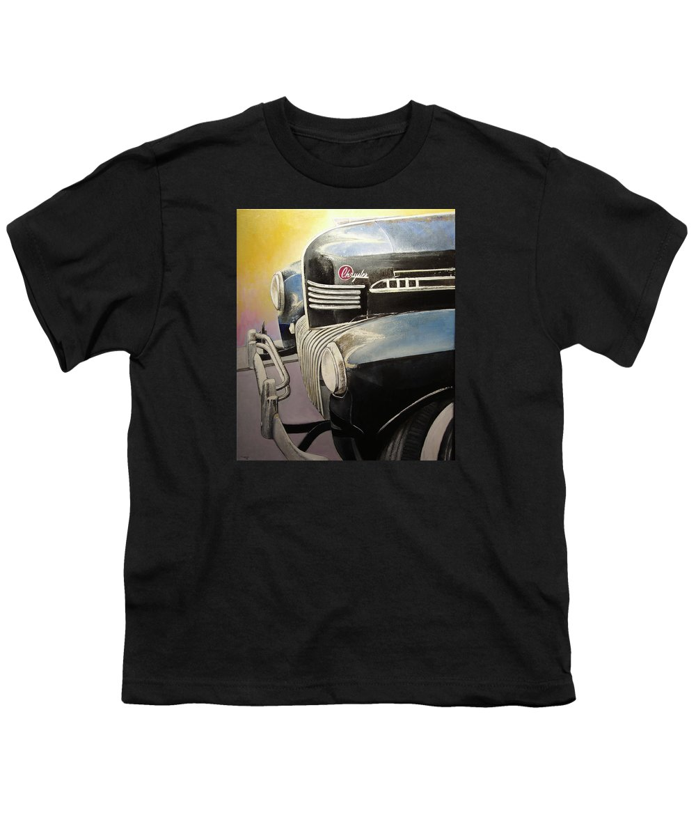 Old Youth T-Shirt featuring the painting Old Chrysler by Tomas Castano