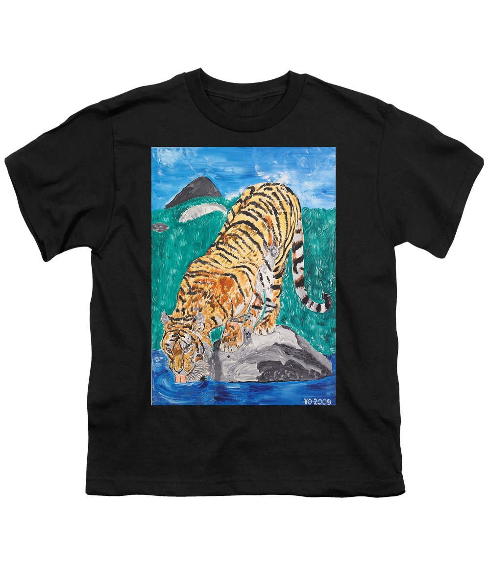 Cat Youth T-Shirt featuring the painting Old Tiger Drinking by Valerie Ornstein