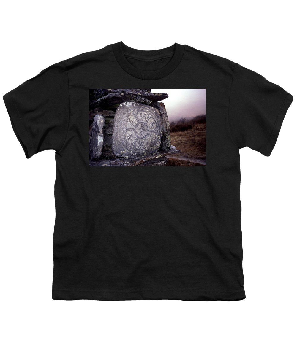 Langtang Youth T-Shirt featuring the photograph Om Mani Padme Hum by Patrick Klauss