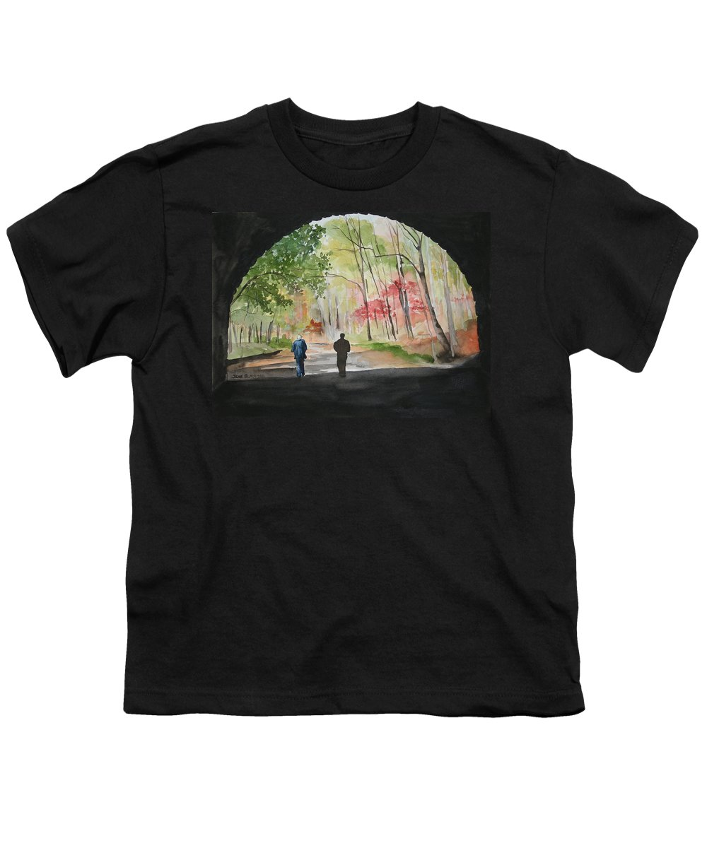 Road Youth T-Shirt featuring the painting On The Road To Nowhere by Jean Blackmer