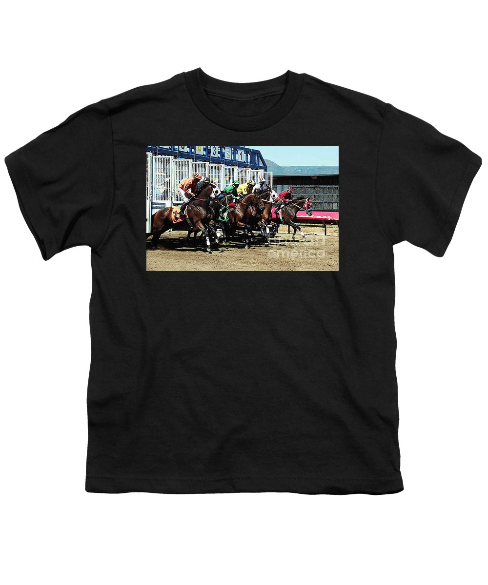 Horse Youth T-Shirt featuring the photograph Only A Mile To Go by Kathy McClure