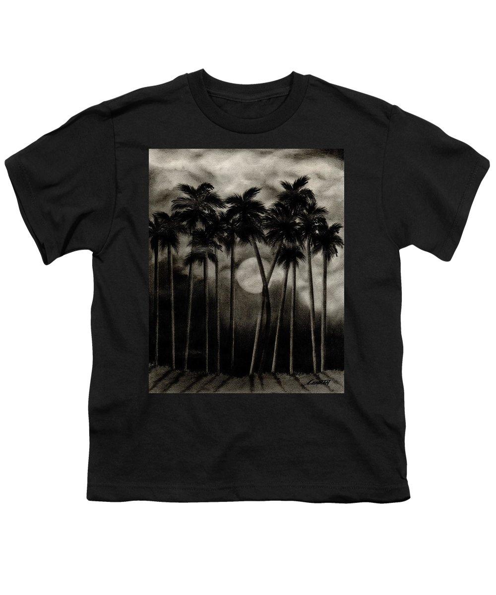 Original Moonlit Palm Trees Youth T-Shirt featuring the drawing Original Moonlit Palm Trees by Larry Lehman