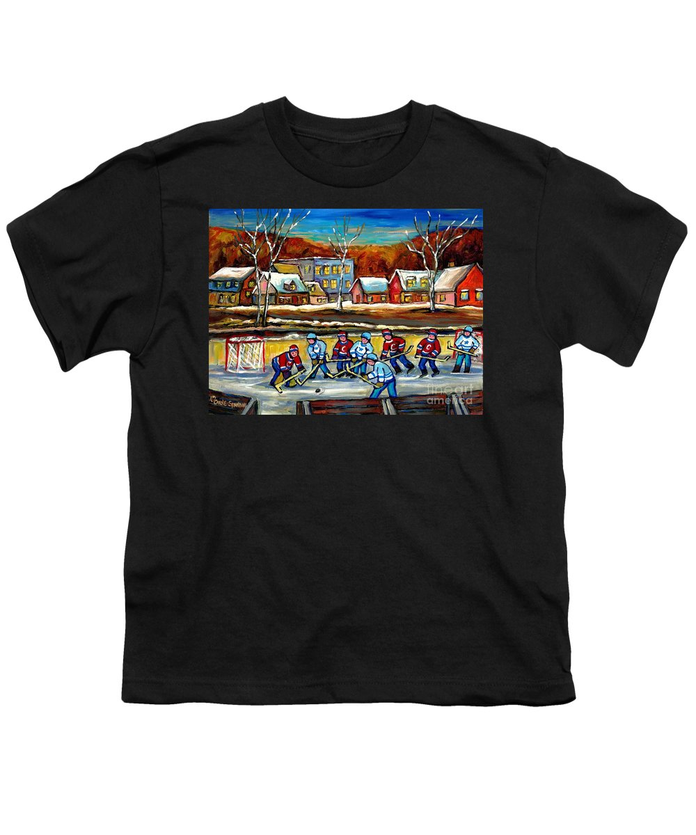 Country Hockey Rink Youth T-Shirt featuring the painting Outdoor Hockey Rink by Carole Spandau
