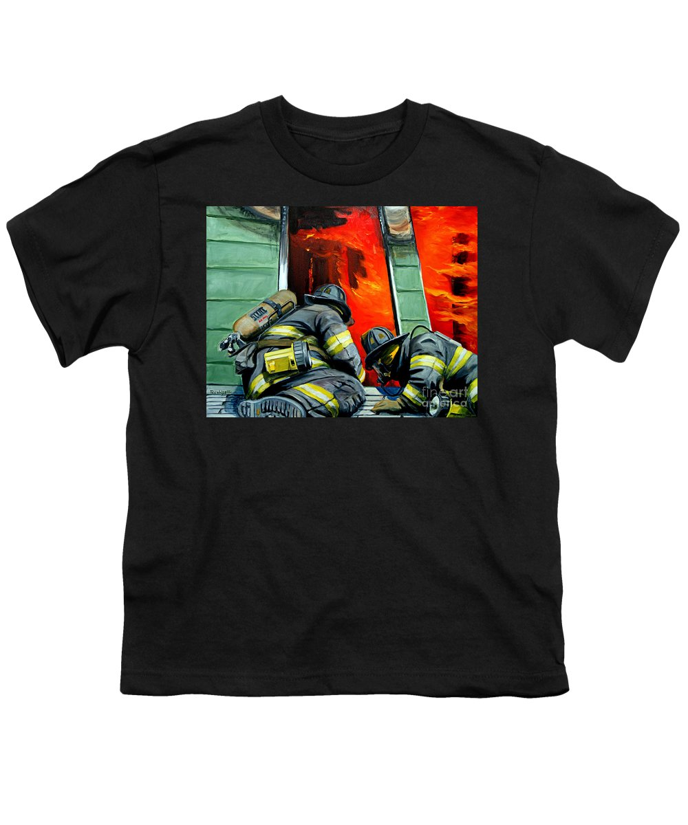 Firefighting Youth T-Shirt featuring the painting Outside Roof by Paul Walsh