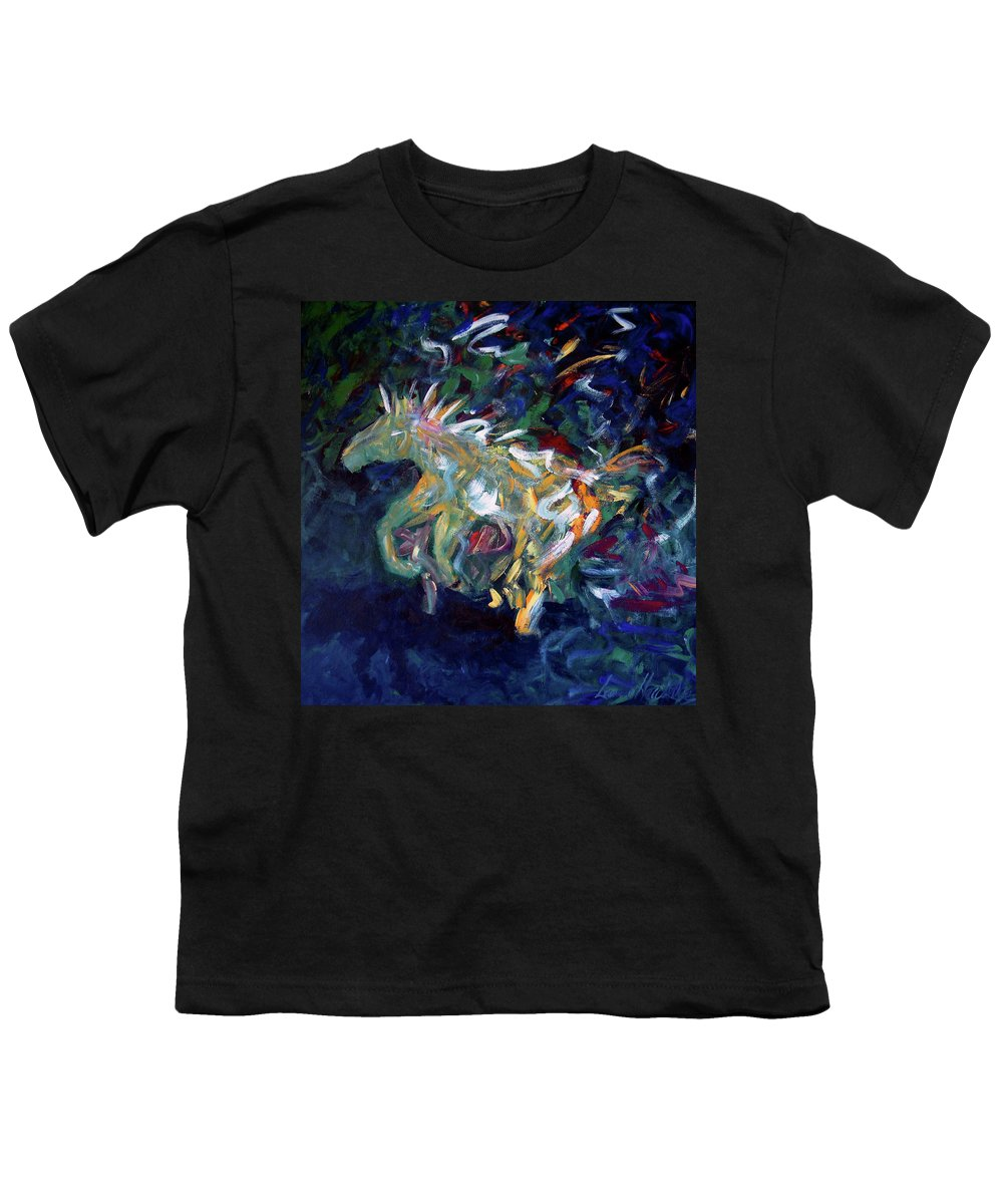 Abstract Horse Youth T-Shirt featuring the painting Painted Pony by Lance Headlee