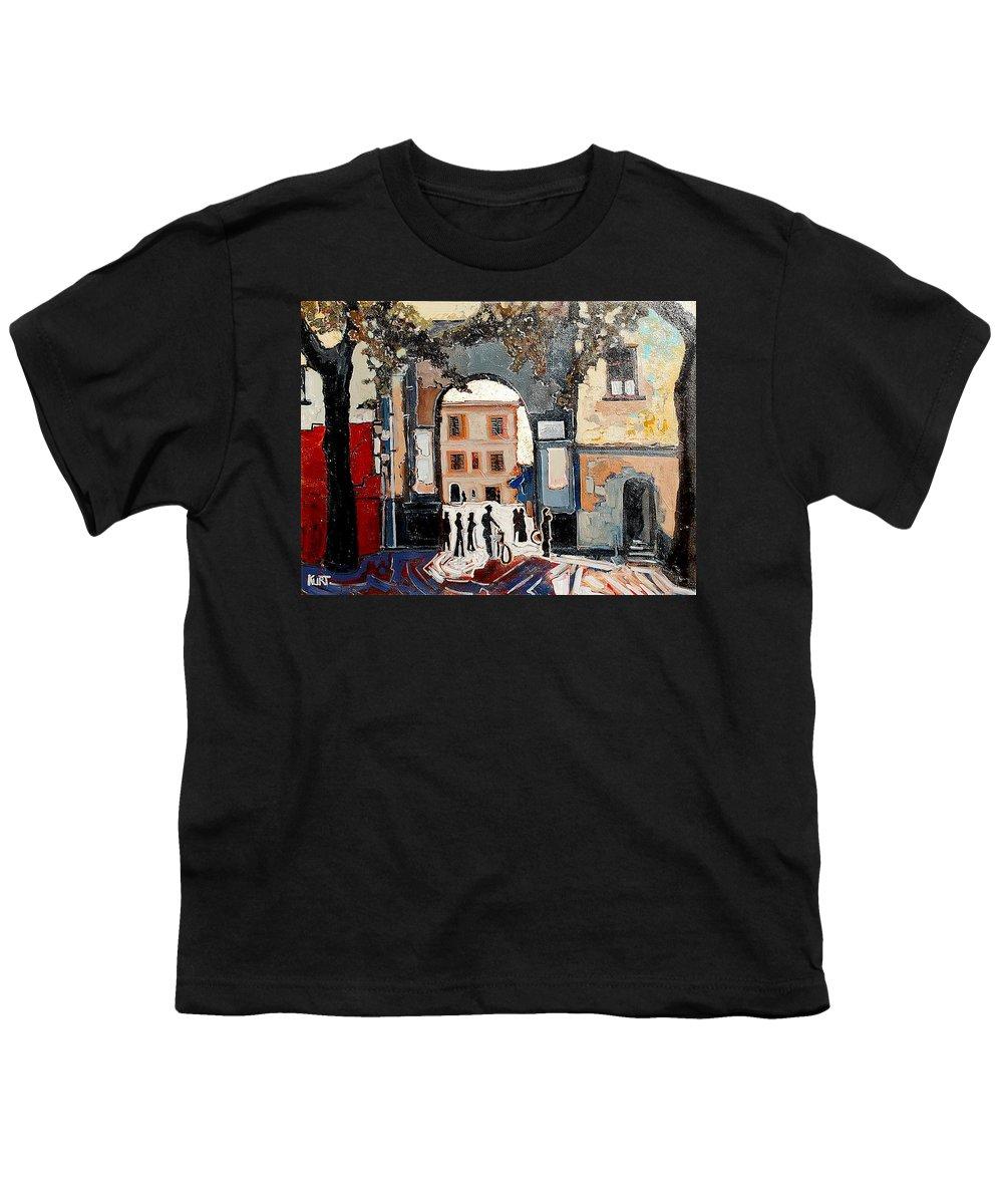 Tuscany Youth T-Shirt featuring the painting Palazzo Vecchio by Kurt Hausmann