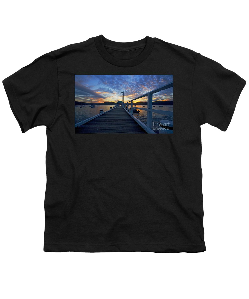 Palm Beach Sydney Wharf Sunset Dusk Water Pittwater Youth T-Shirt featuring the photograph Palm Beach Wharf At Dusk by Sheila Smart Fine Art Photography