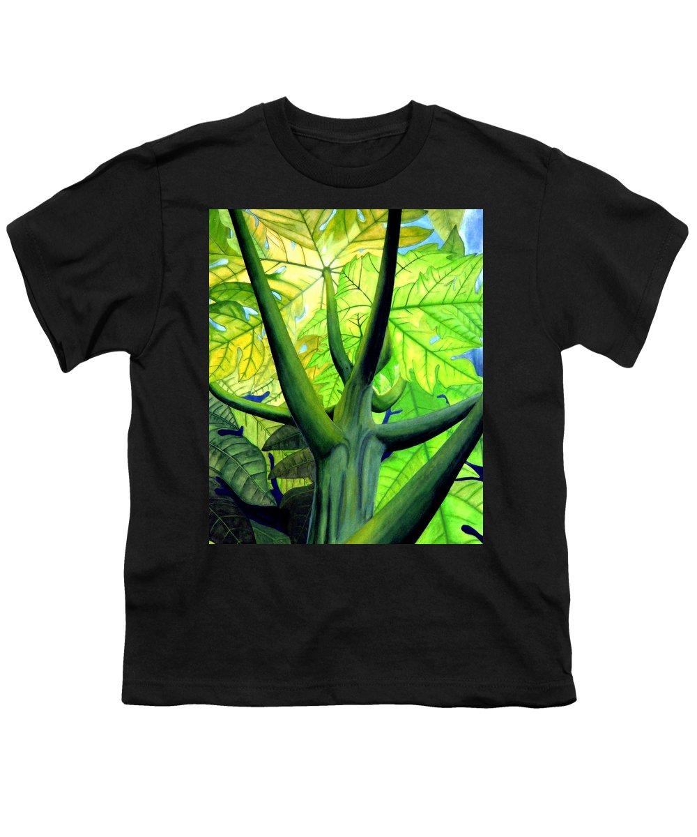Papaya Tree Youth T-Shirt featuring the painting Papaya Tree by Kevin Smith