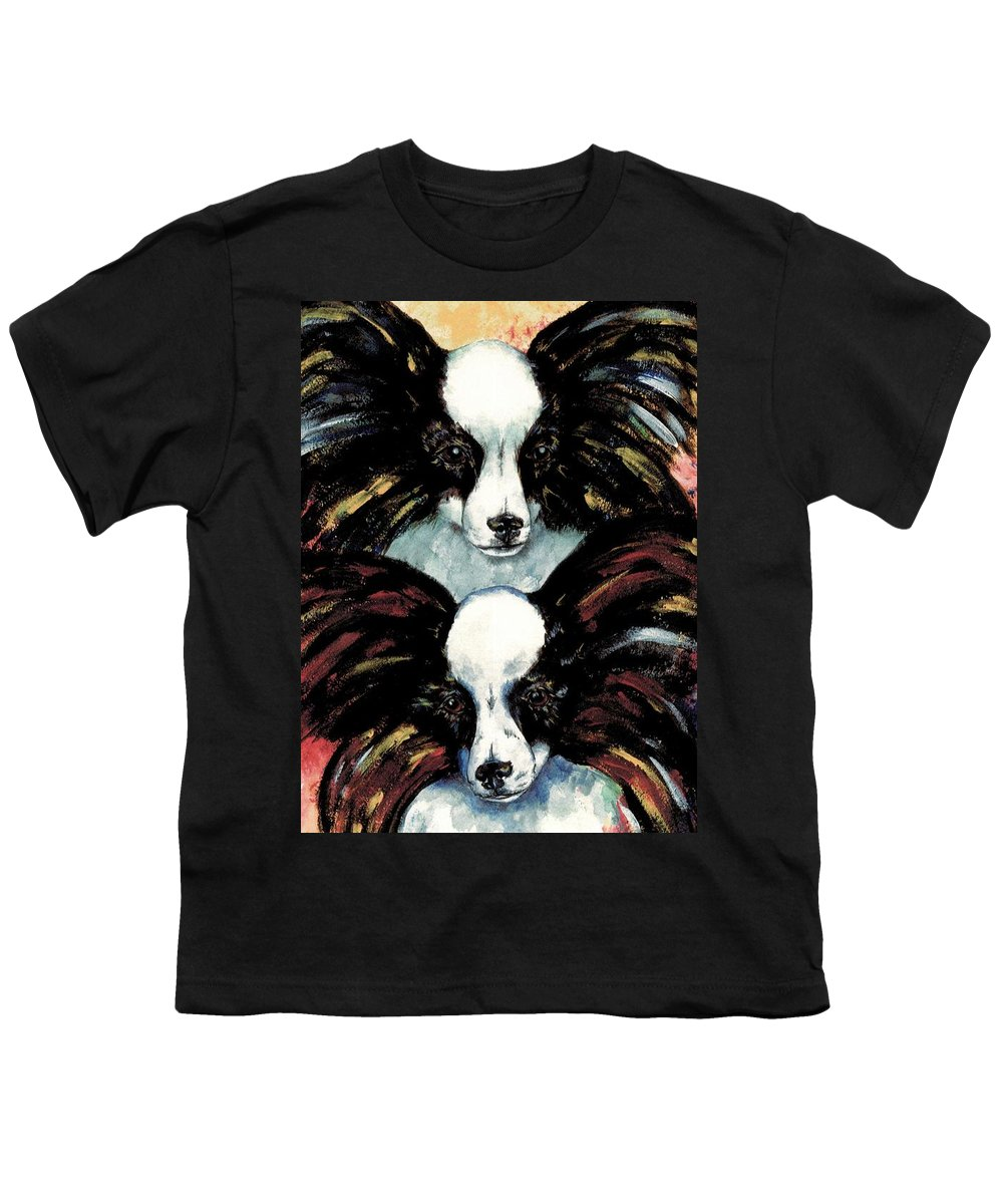 Papillon Youth T-Shirt featuring the painting Papillon De Mardi Gras by Kathleen Sepulveda