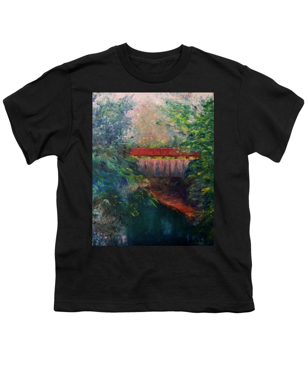 Landscape Youth T-Shirt featuring the painting Parke County by Stephen King