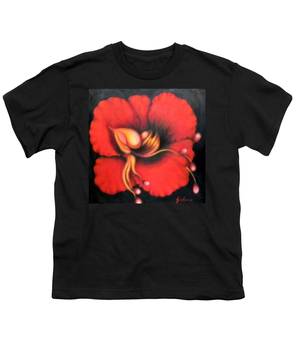 Red Surreal Bloom Artwork Youth T-Shirt featuring the painting Passion Flower by Jordana Sands