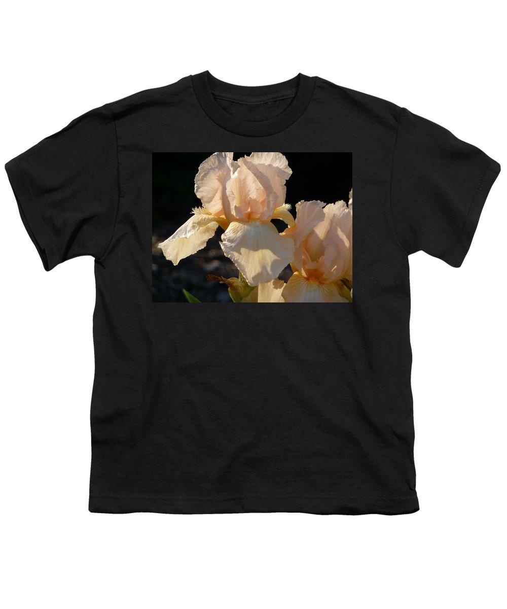 Flower. Iris Youth T-Shirt featuring the photograph Peach Bearded Iris by Ruth Kamenev