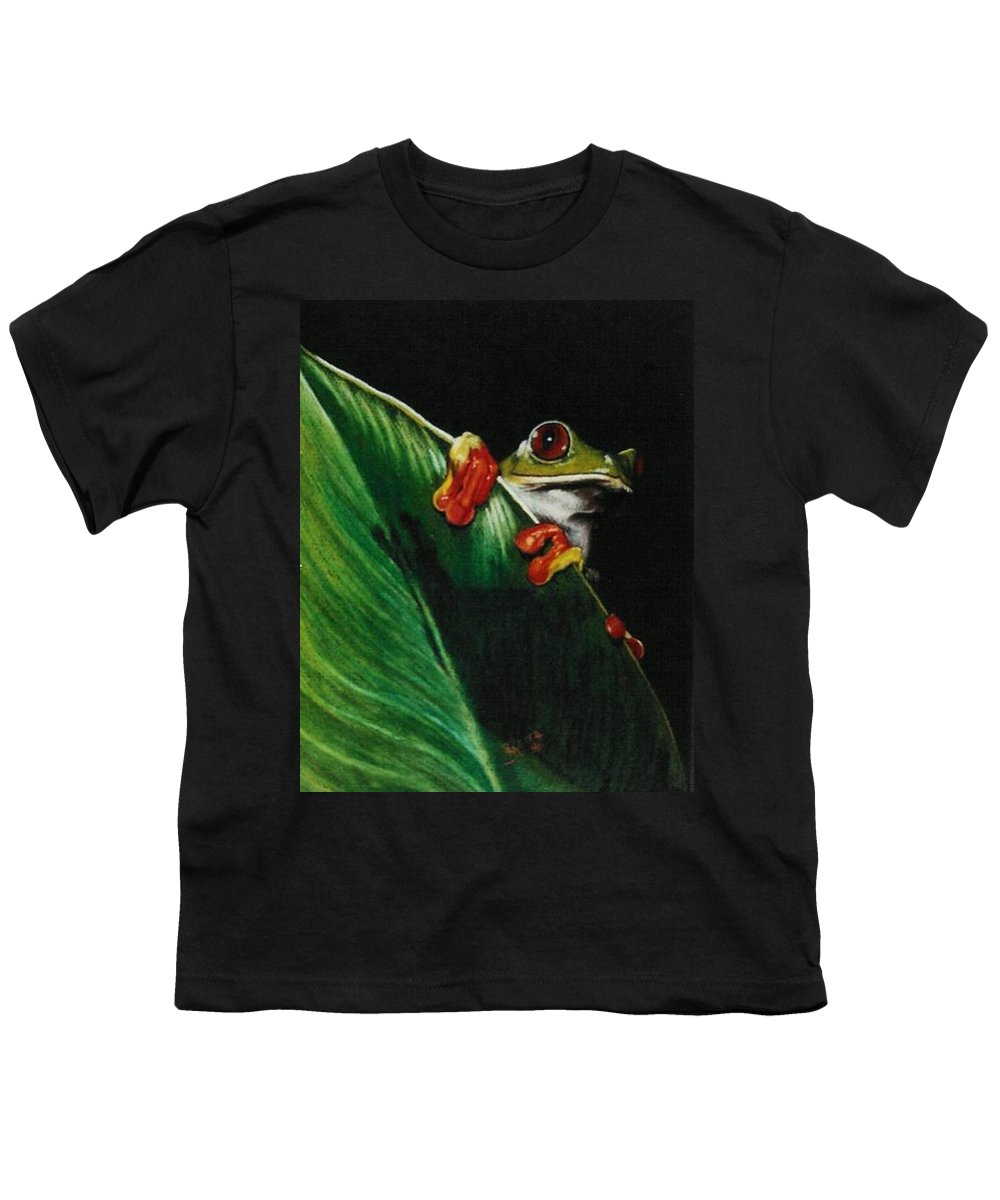 Frog Youth T-Shirt featuring the drawing Peek-a-boo by Barbara Keith
