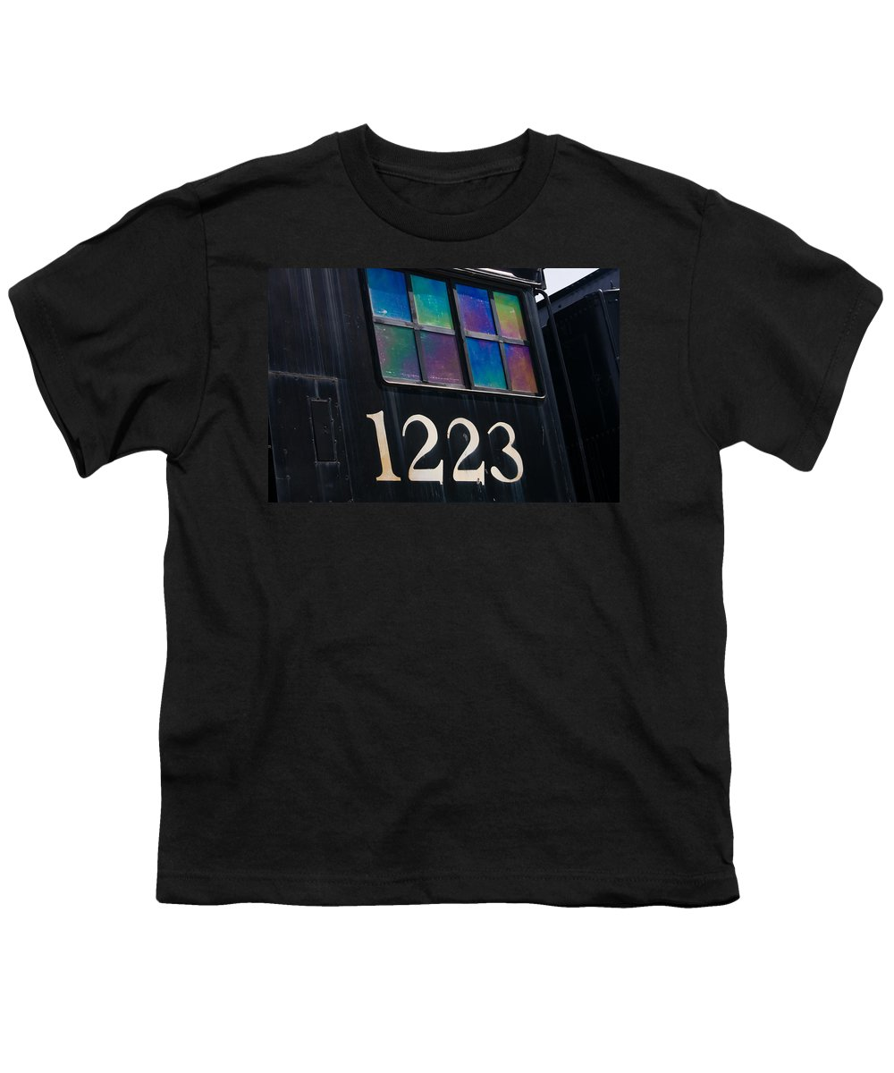 3scape Youth T-Shirt featuring the photograph Pere Marquette Locomotive 1223 by Adam Romanowicz