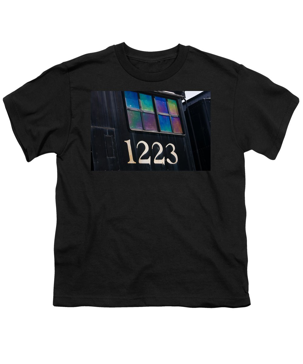 Train Youth T-Shirt featuring the photograph Pere Marquette Locomotive 1223 by Adam Romanowicz