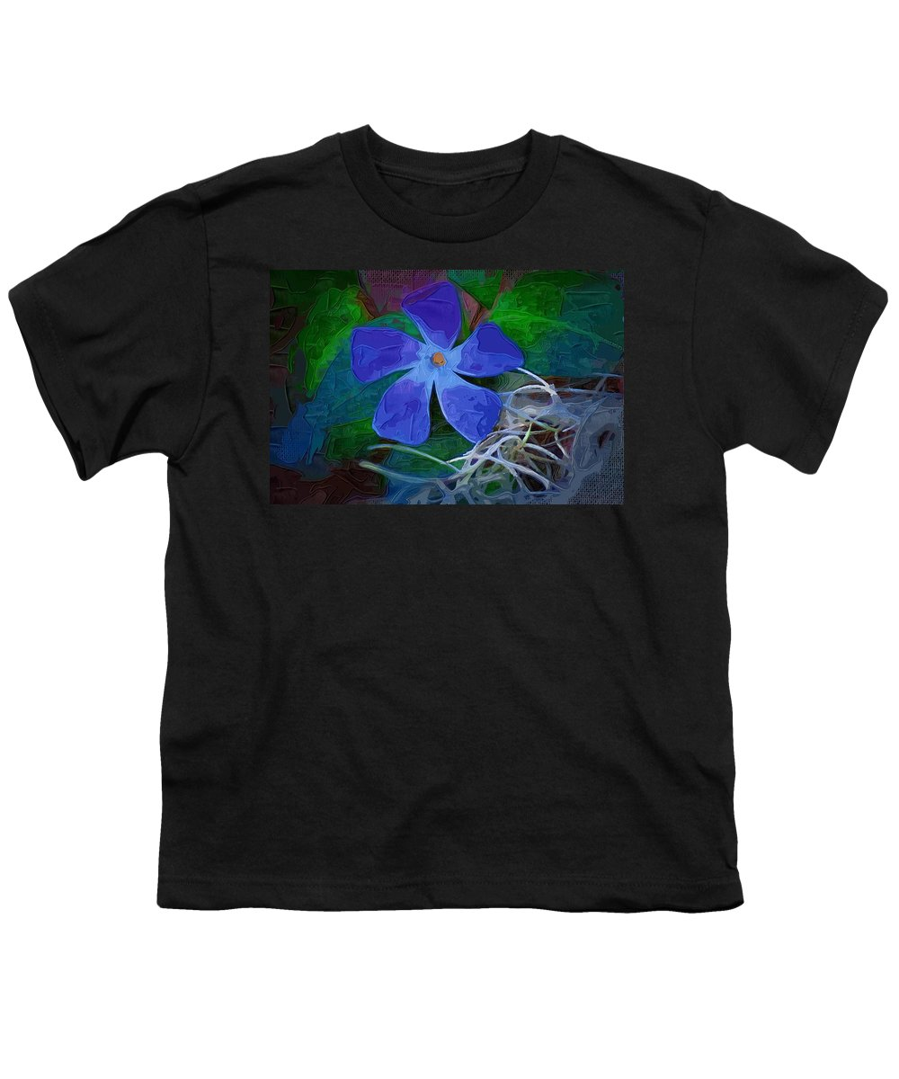 Flower Youth T-Shirt featuring the digital art Periwinkle Blue by Donna Bentley