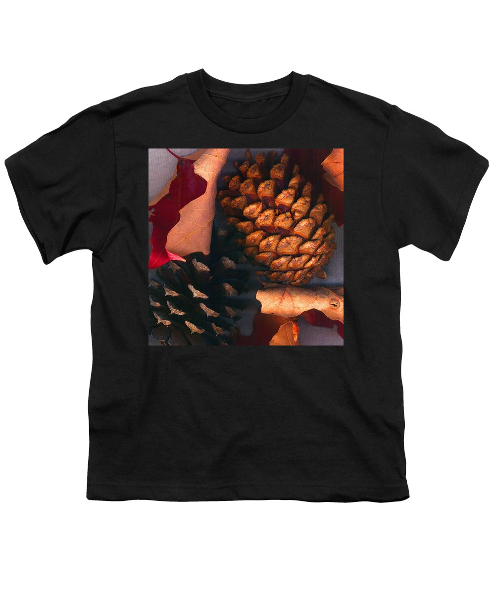 Pine Cones Youth T-Shirt featuring the photograph Pine Cones And Leaves by Nancy Mueller