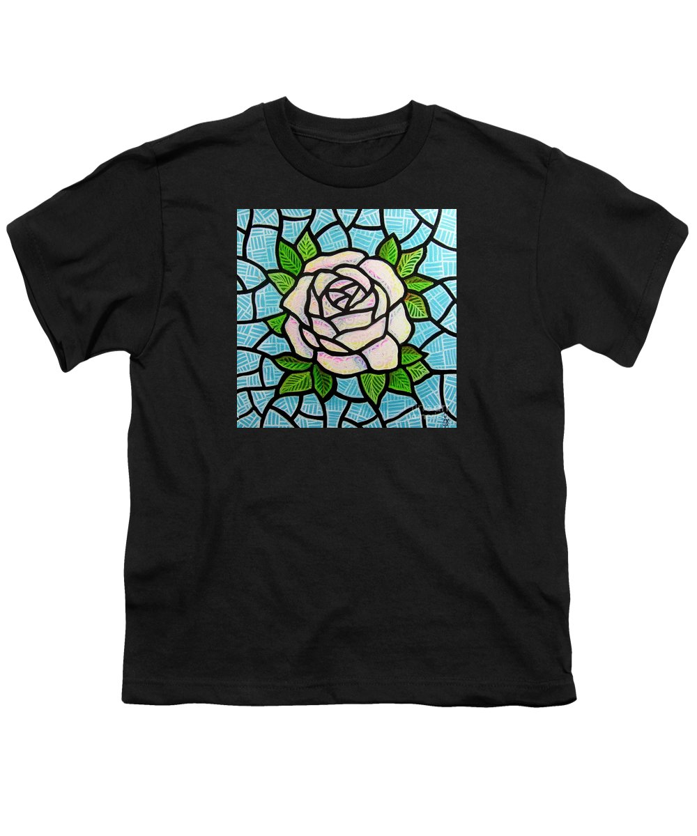Rose Youth T-Shirt featuring the painting Pinkish Rose by Jim Harris