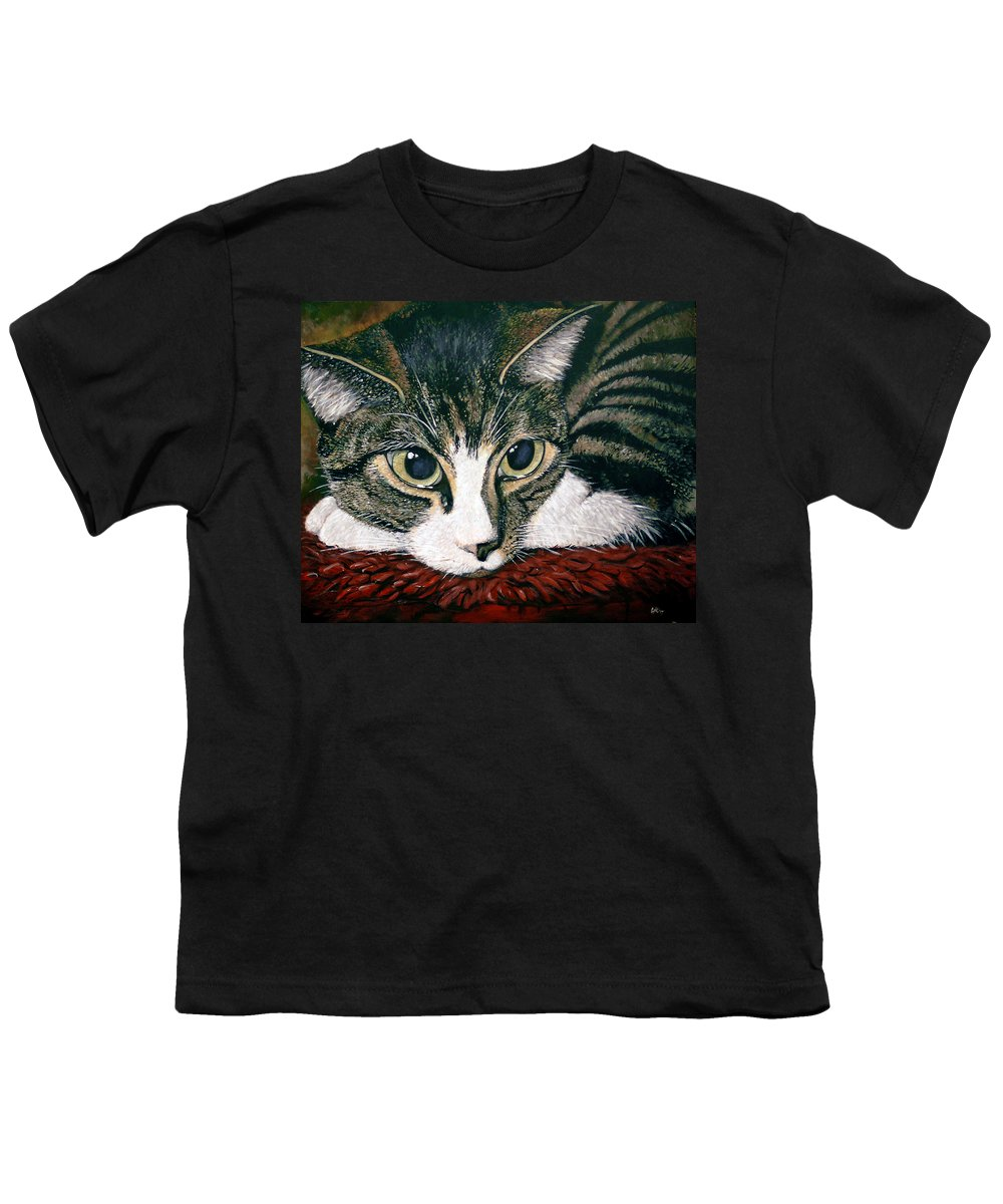 Cat Youth T-Shirt featuring the painting Pooky by Arie Van der Wijst