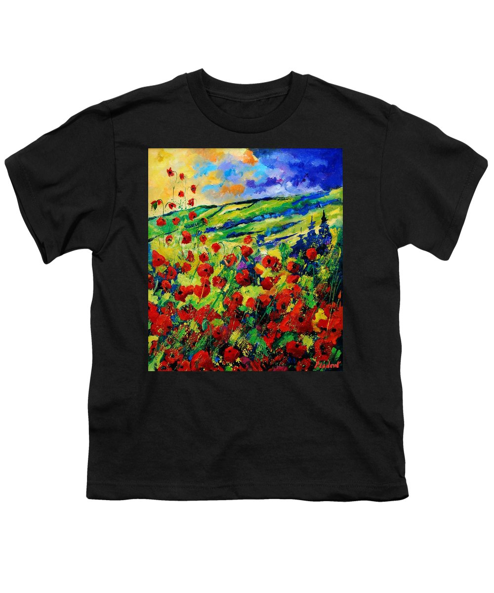Flowers Youth T-Shirt featuring the painting Poppies 78 by Pol Ledent