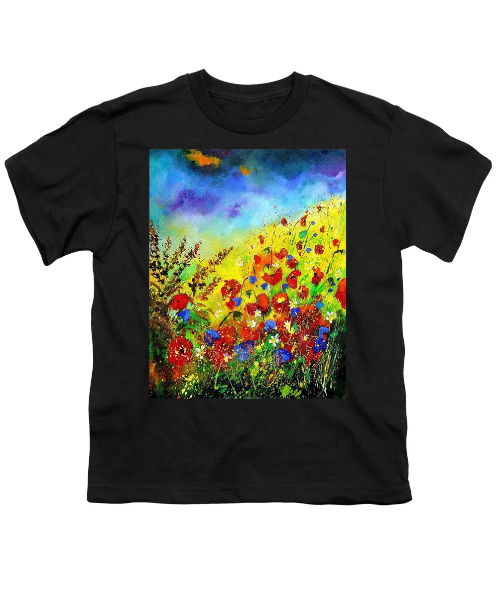 Poppies Youth T-Shirt featuring the print Poppies And Blue Bells by Pol Ledent