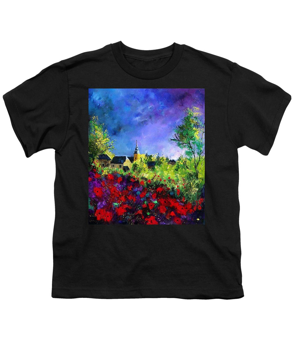 Flowers Youth T-Shirt featuring the painting Poppies In Villers by Pol Ledent