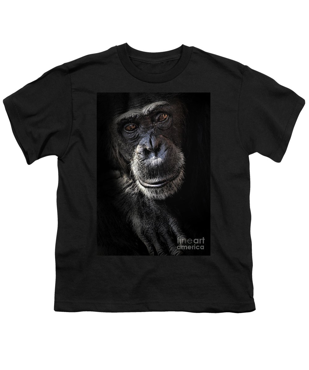Chimp Youth T-Shirt featuring the photograph Portrait Of A Chimpanzee by Avalon Fine Art Photography