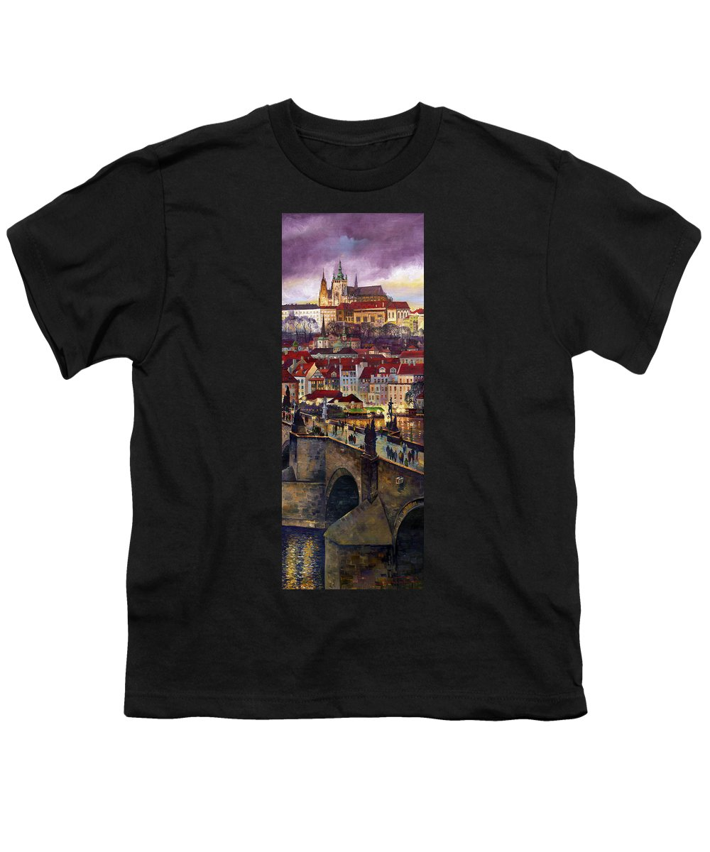 Prague Youth T-Shirt featuring the painting Prague Charles Bridge with the Prague Castle by Yuriy Shevchuk