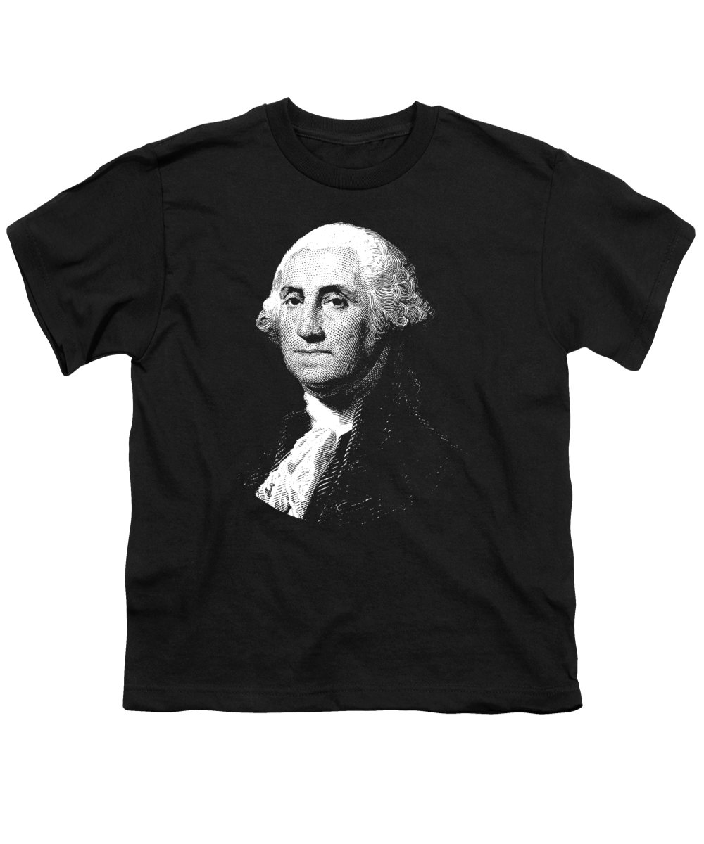 George Washington Youth T-Shirt featuring the digital art President George Washington Graphic by War Is Hell Store