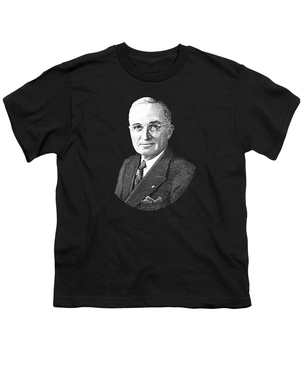 Harry Truman Youth T-Shirt featuring the digital art President Harry Truman Graphic by War Is Hell Store