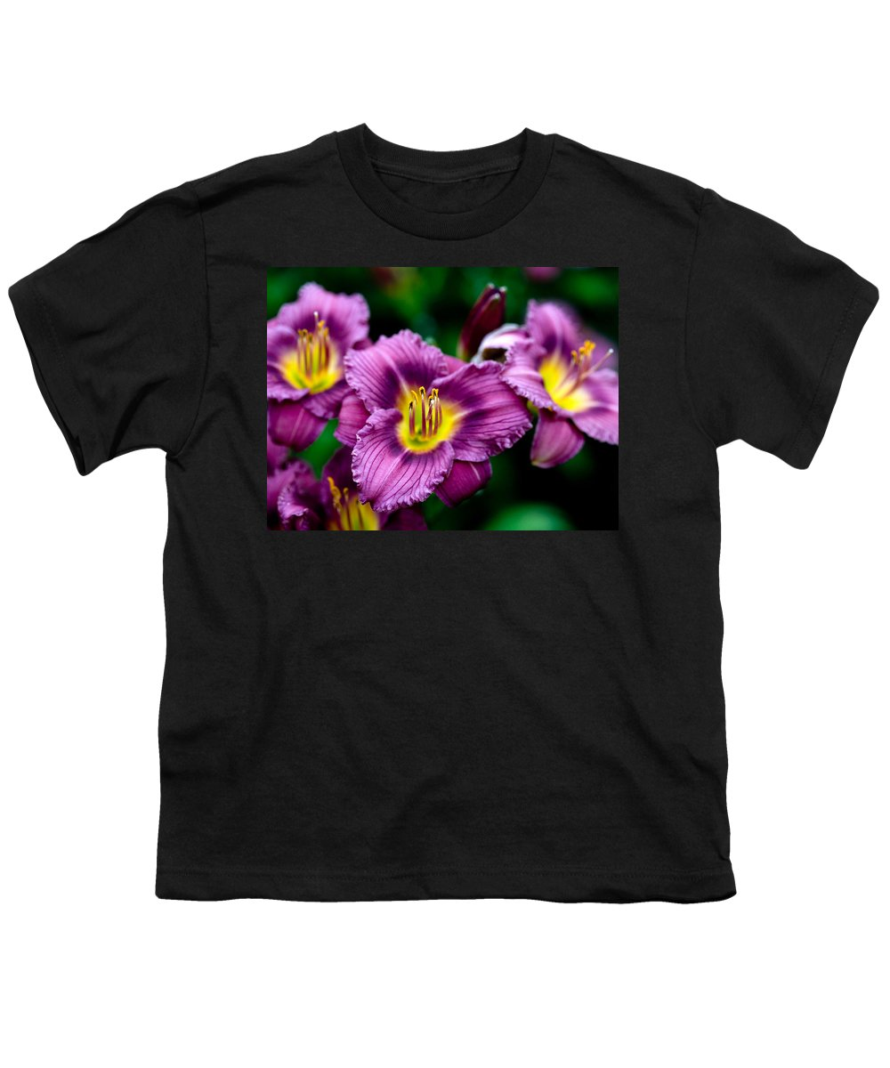 Flower Youth T-Shirt featuring the photograph Purple Day Lillies by Marilyn Hunt