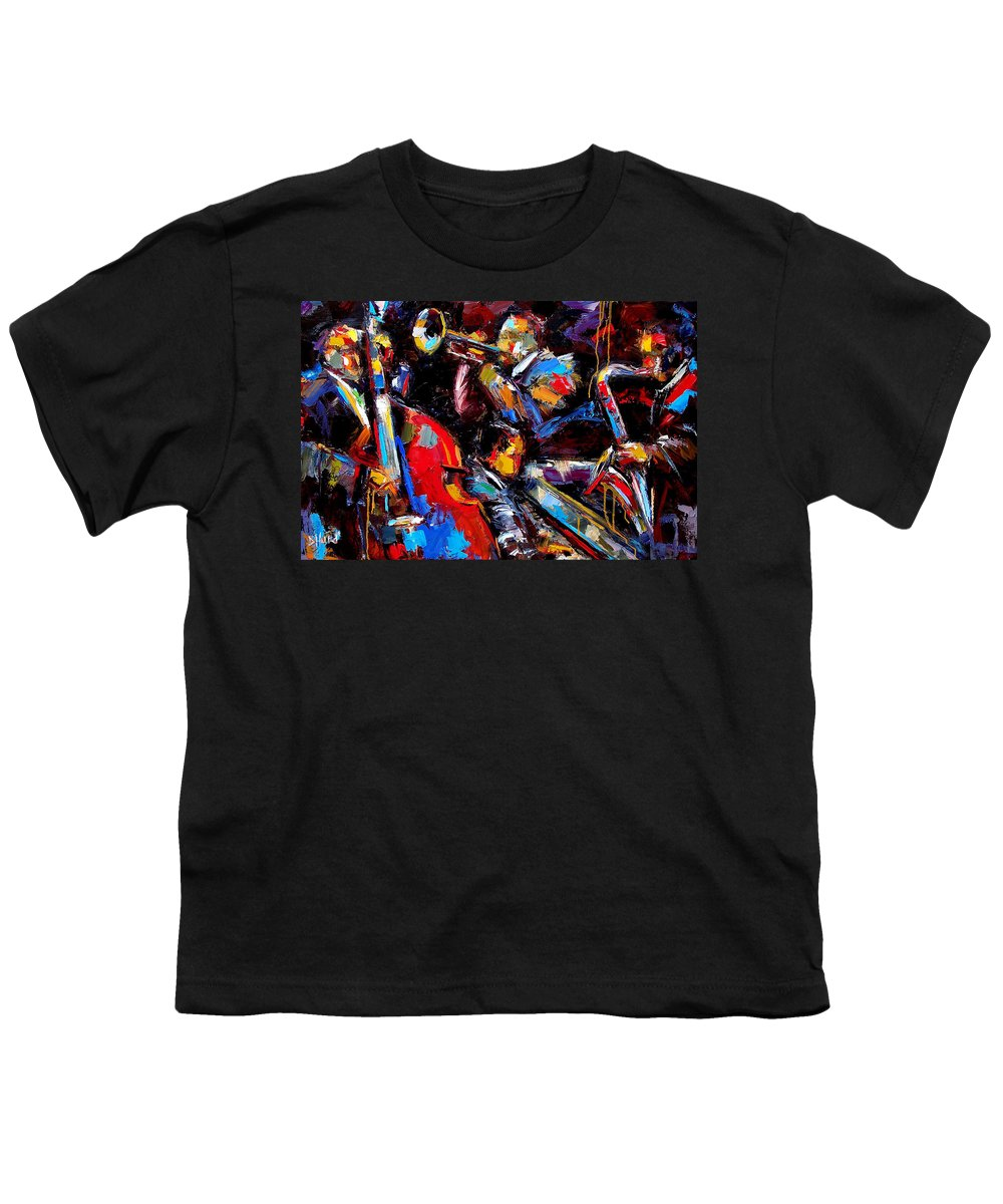 Jazz Paintings Youth T-Shirt featuring the painting Quartet by Debra Hurd