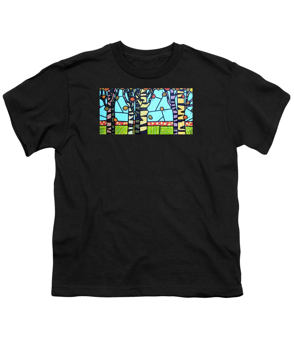 Birch Trees Youth T-Shirt featuring the painting Quilted Birch Garden by Jim Harris