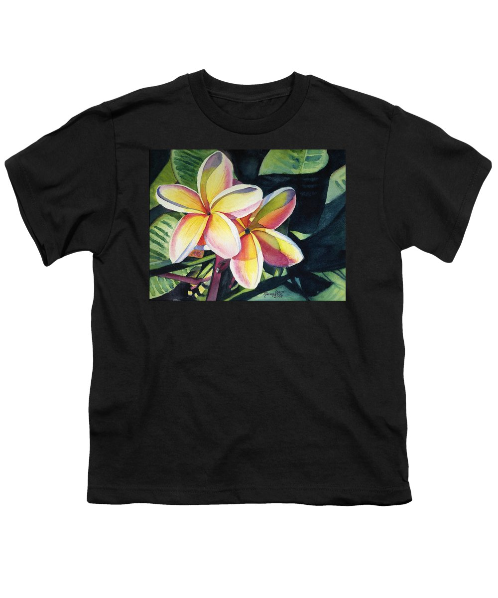 Rainbow Youth T-Shirt featuring the painting Rainbow Plumeria by Marionette Taboniar