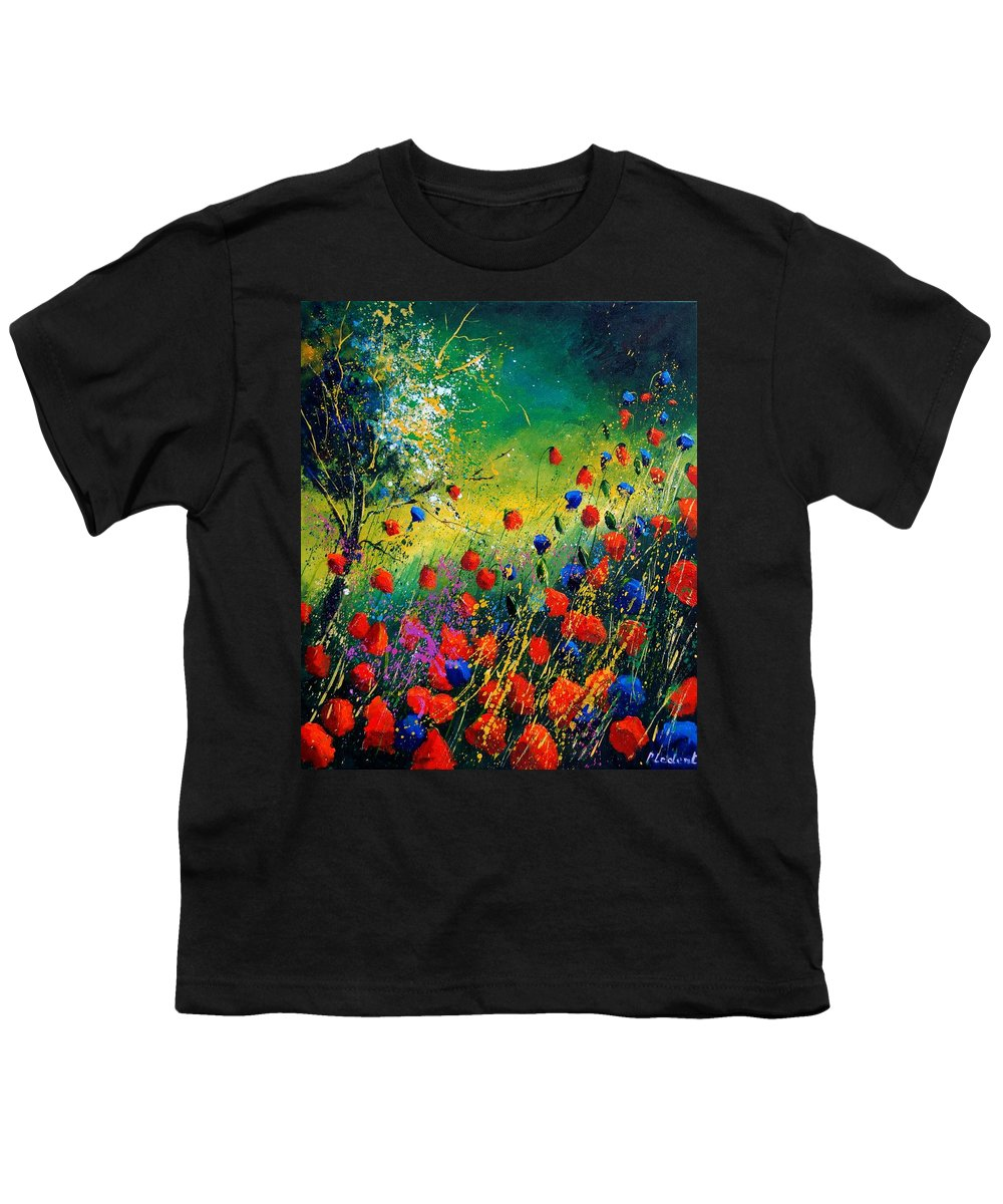 Flowers Youth T-Shirt featuring the painting Red And Blue Poppies by Pol Ledent