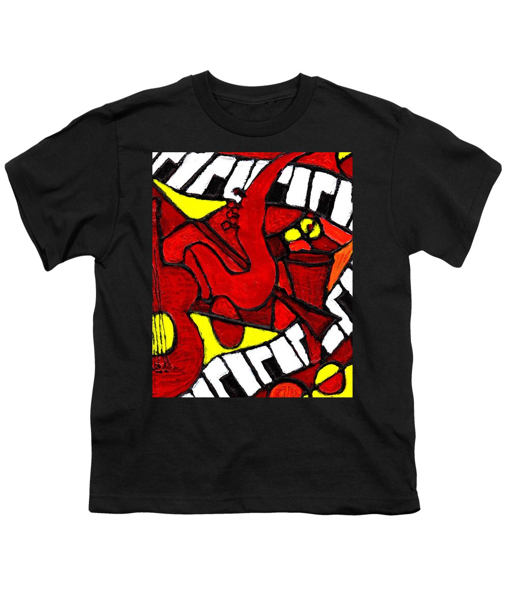 Jazz Youth T-Shirt featuring the painting Red Hot Jazz by Wayne Potrafka