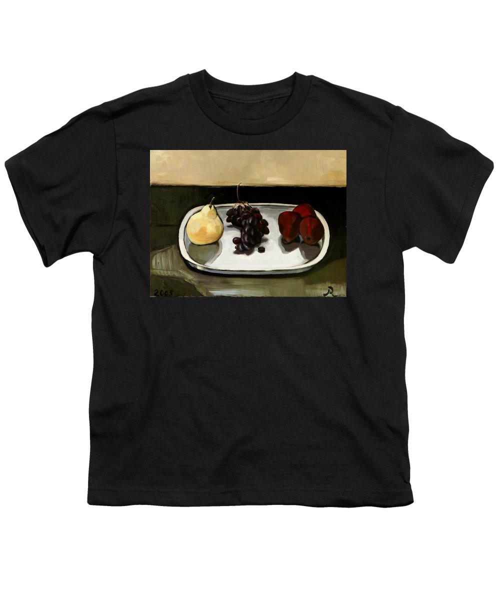Still-life Grapes Pears Youth T-Shirt featuring the painting Red Pears by Raimonda Jatkeviciute-Kasparaviciene