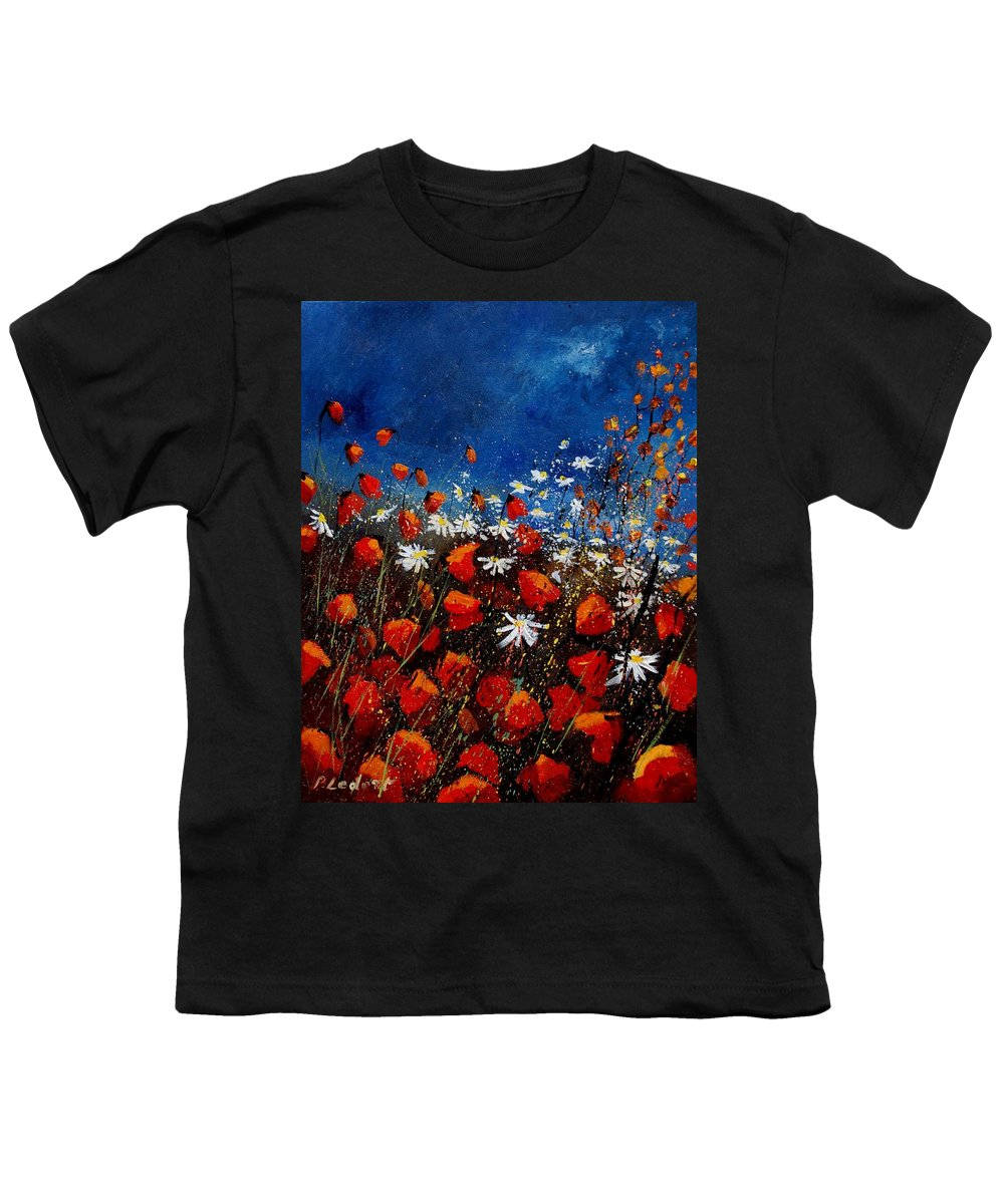 Flowers Youth T-Shirt featuring the painting Red Poppies 451108 by Pol Ledent