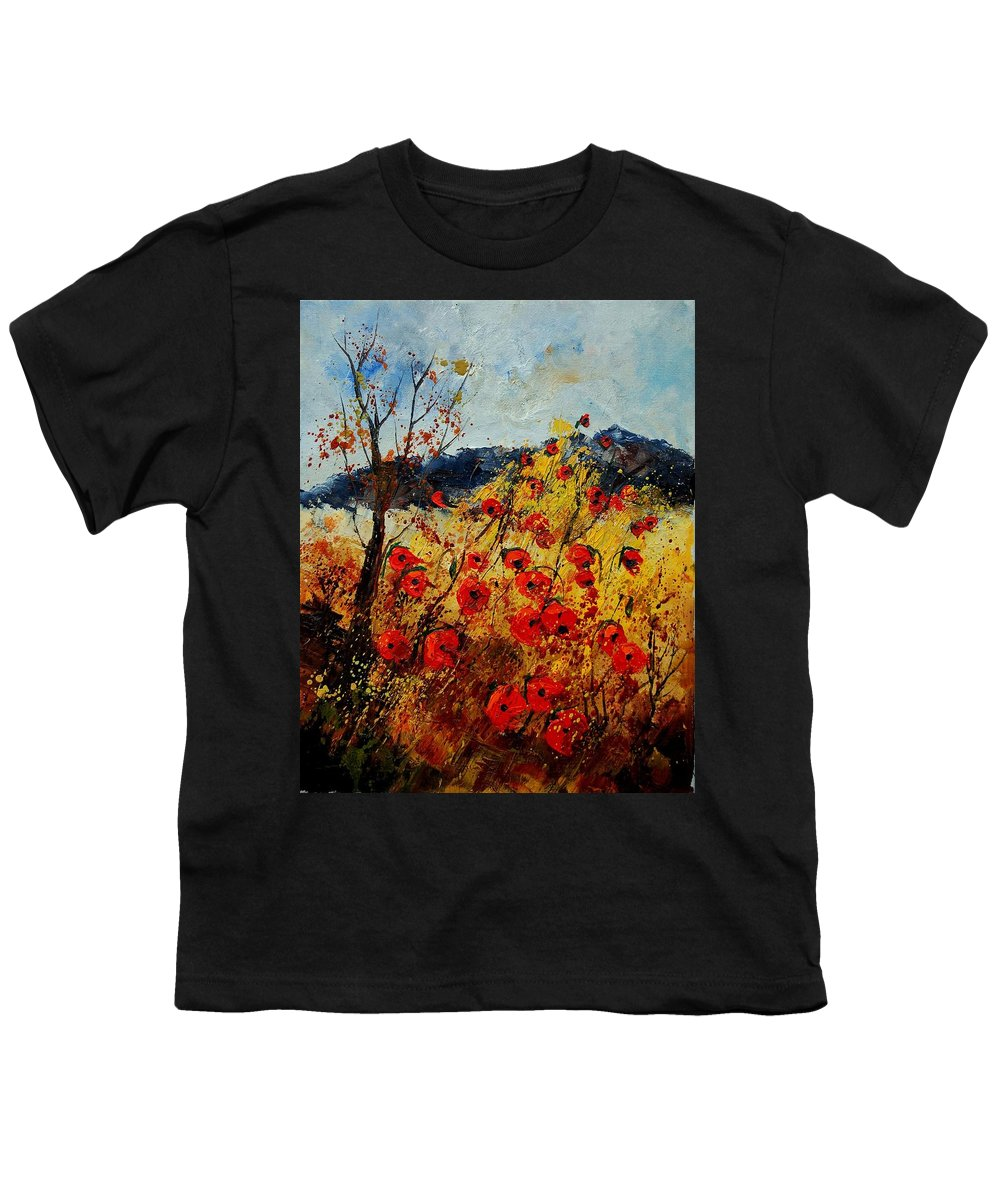 Poppies Youth T-Shirt featuring the painting Red Poppies In Provence by Pol Ledent