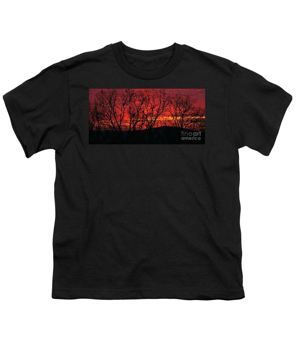 Sunrise Youth T-Shirt featuring the photograph Red Sunrise Over The Ozarks by Nadine Rippelmeyer