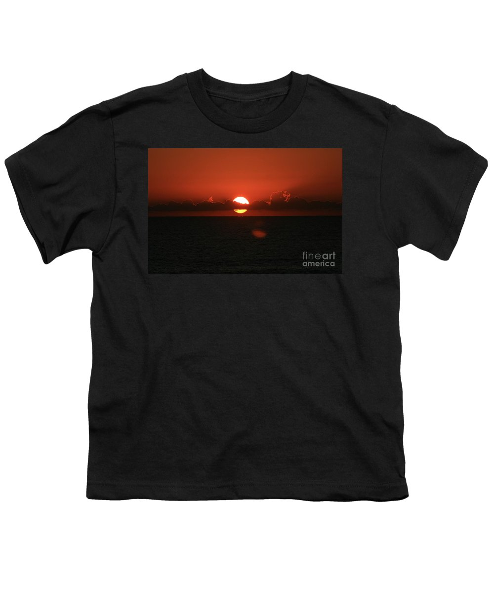 Sunset Youth T-Shirt featuring the photograph Red Sunset Over The Atlantic by Nadine Rippelmeyer
