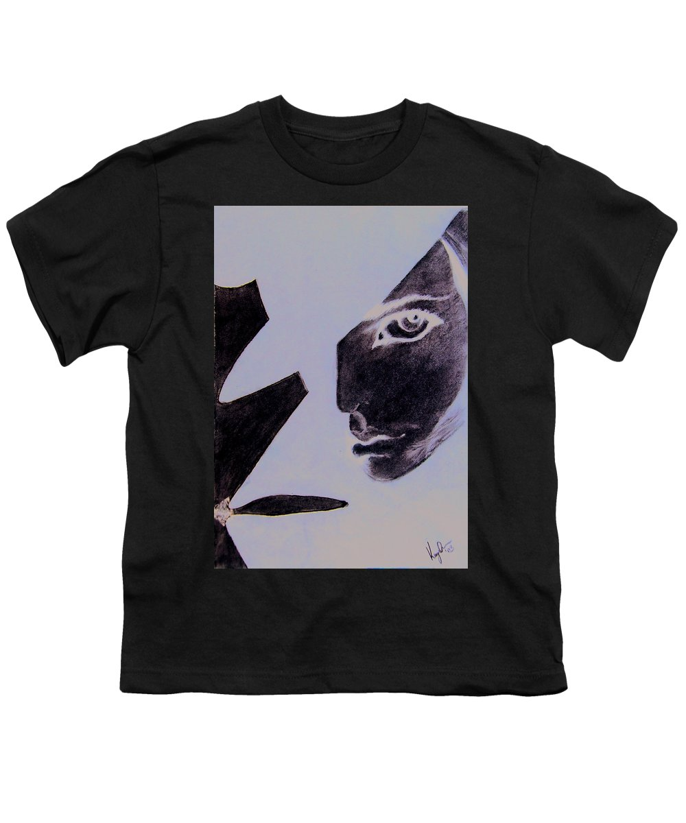 Black Youth T-Shirt featuring the pastel Revenge by Kayon Cox