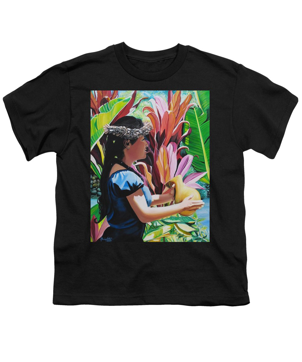 Rhythm Youth T-Shirt featuring the painting Rhythm Of The Hula by Marionette Taboniar