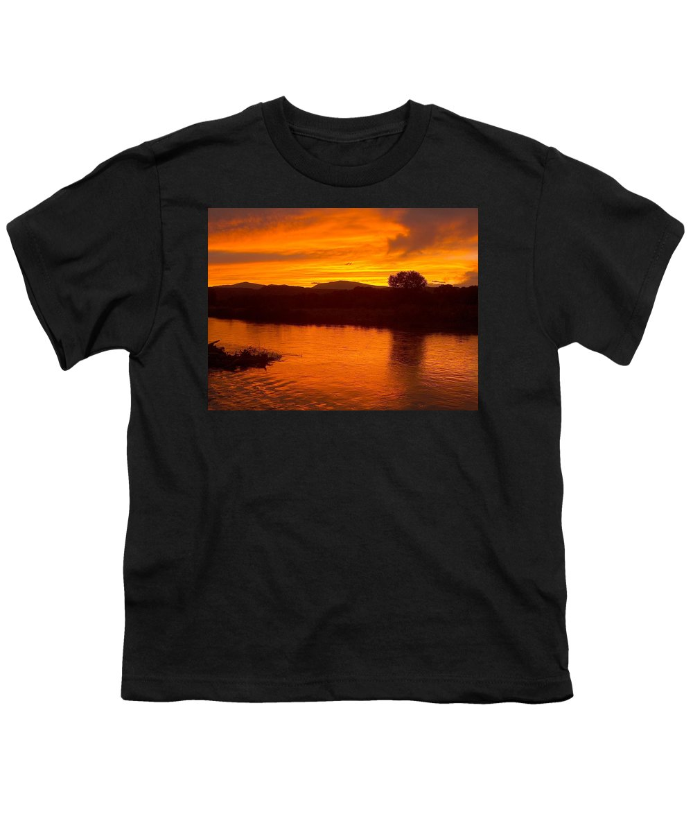 Sunset Youth T-Shirt featuring the photograph Rio Grande Sunset by Tim McCarthy