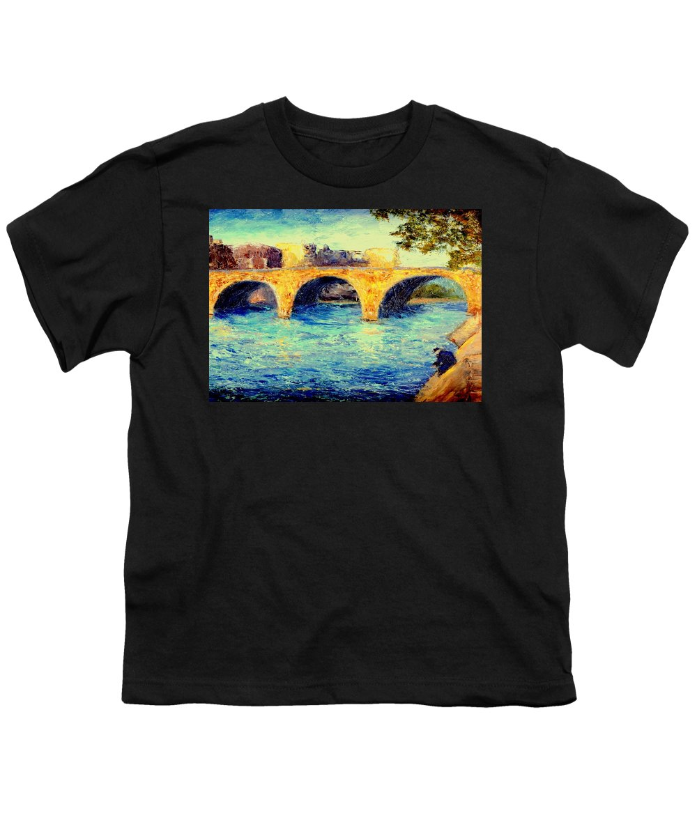 Impressionism Youth T-Shirt featuring the painting River Seine Bridge by Gail Kirtz