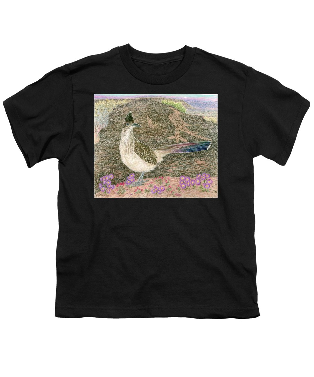 Roadrunner Youth T-Shirt featuring the drawing Roadrunner by Tim McCarthy