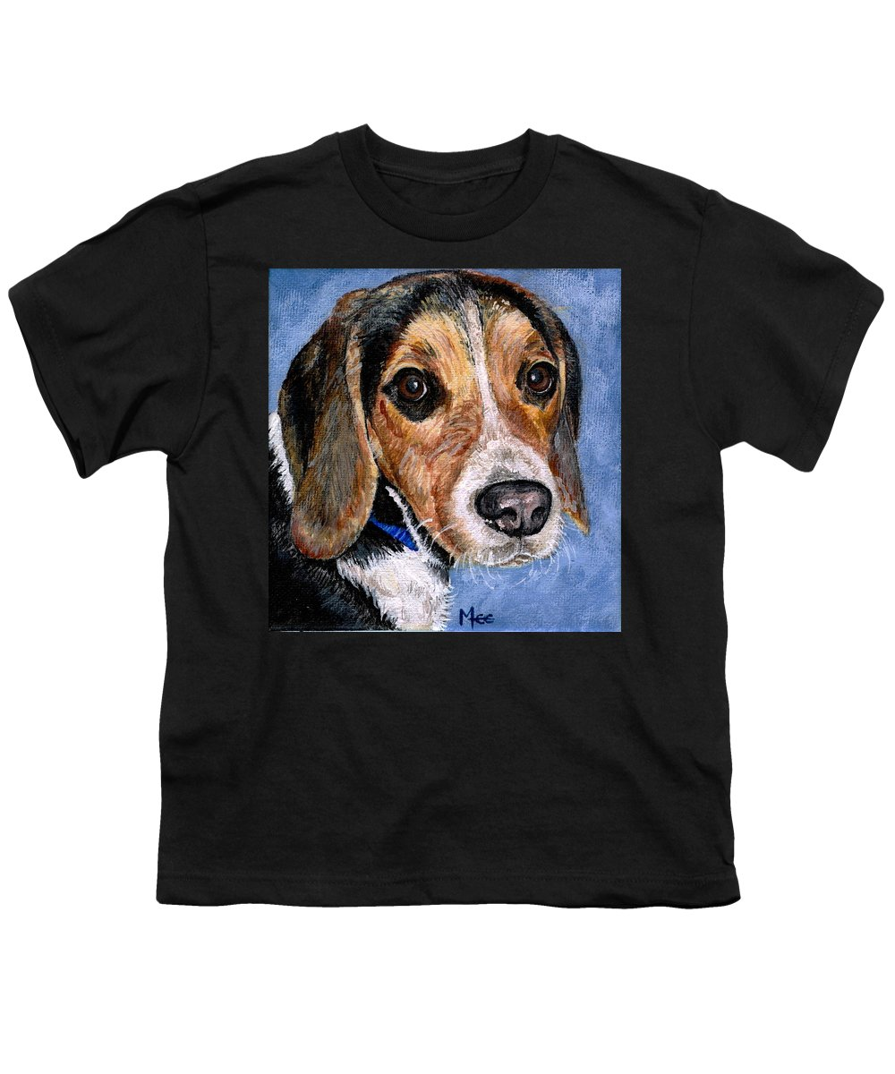 Dog Youth T-Shirt featuring the painting Rocky by Mary-Lee Sanders