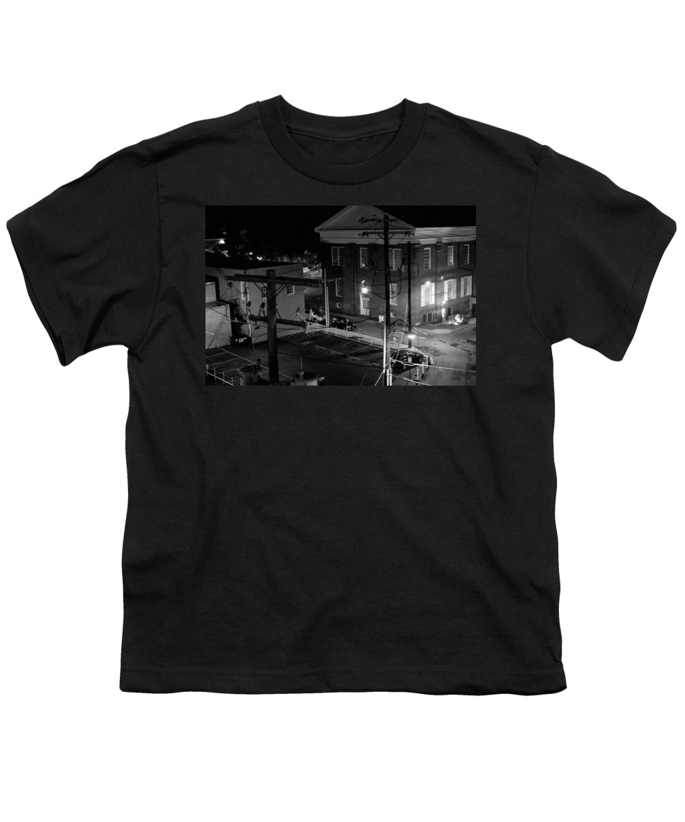 Black White Youth T-Shirt featuring the photograph Rooftop Court by Jean Macaluso