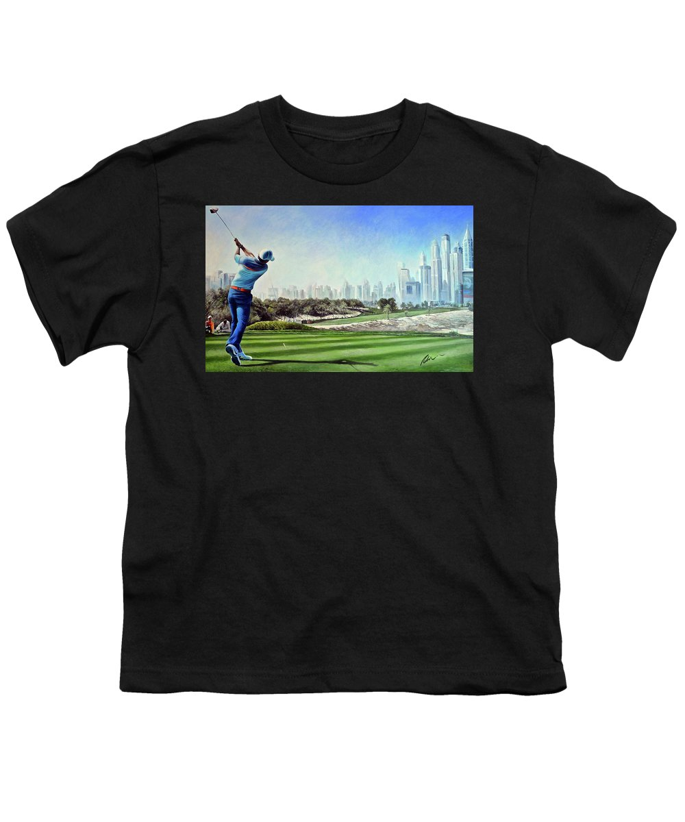 Rory Mcilroy Youth T-Shirt featuring the painting Rory At Ddc Emirates Gc Dubai 8th 2014 by Mark Robinson